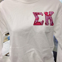 Sigma Kappa left chest applique letters in the official sorority lilly!