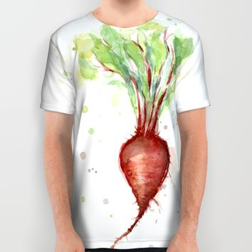 Red Beet Watercolor | Vegetable Painting All Over Print Shirt by Olechka | Society6