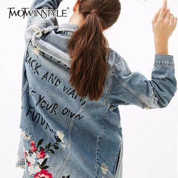 TWOTWINSTYLE Denim Jacket Womens Hole Embroidery Floral Letter Vintage Big Size Long Coat Spring Fashion Female Harajuku Clothes