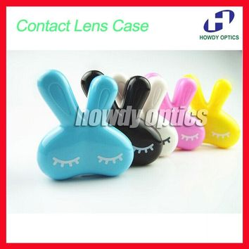 10pcs/lot Wholesale CLC03 Cute Rabbit Series Contact lens Case  Contact Lenses Box & Case Promotional Gift Free Shipping