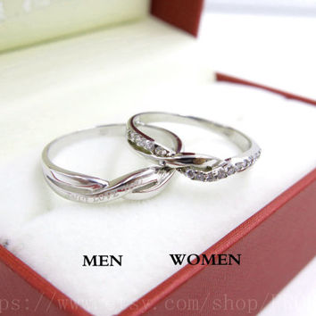 2pcs Free Engrave platinum infinity rings, Wedding Couples Rings, Lovers rings, his and hers promise ring sets, wedding rings, matching ring
