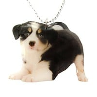 Realistic Border Collie Puppy Dog in Playful Pose Shaped Pendant Necklace | Handmade