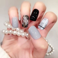 Punk Fake Nails 24Pcs Metal Color Mix Chic Long False Nails Grey Square Acrylic Nails Tips