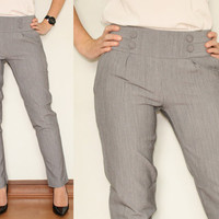 Skinny Pants High Waist Trousers in Gray for Career Office Fashion