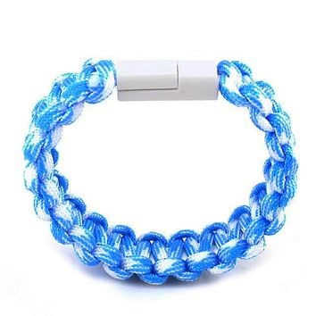 USB Cable Charger Bracelet Sync Data Cable Cord For iPhone, Samsung