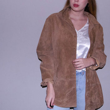 90s Brown Suede Jacket - mens suede jacket suede overcoat leather jacket 90s jacket utility jacket suede shirt jacket leather jacket mens