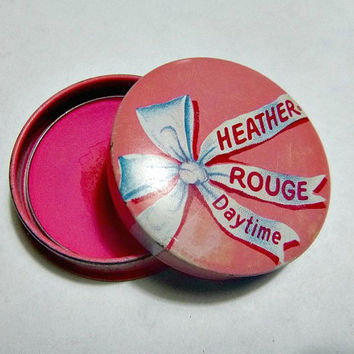 50's Pretty in Pink Heather Rouge Tin Case Daytime Beauty Vanity Makeup Collectible Powder Blush Rouge Pot Cosmetic Compact Nifty Fifties