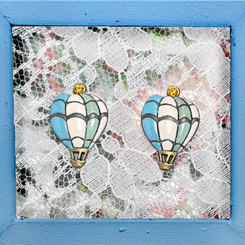 Bon Voyage earrings - antique gold balloon, hand painted, pastel colours (cream, blue, mint), ochre rhinestone, preppy, hipster, naif