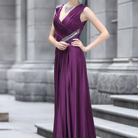 Purple V Neck Grecian Prom Evening Dress