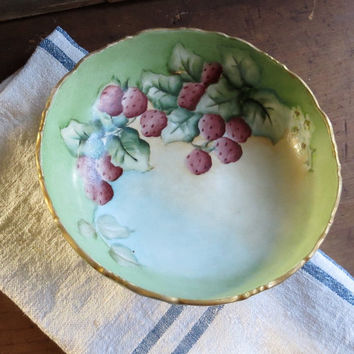 Vintage French Serving Bowl, Hand Painted Strawberries Console Dish, Handpainted Green Dinnerware, Fruit Compote, Cottage Decor