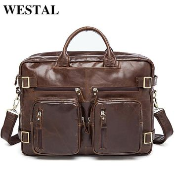 WESTAL Genuine Leather Men Bag Men's Briefcases 14inch Leather Laptop Bag business Male men travel Tote crossbody Bags 341