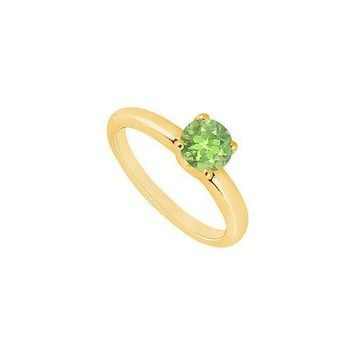 Peridot Ring : 14K Yellow Gold - 1.00 CT TGW