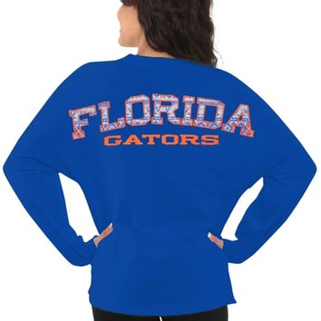 Florida Gators Women's Aztec Sweeper Long Sleeve Oversized Top - Blue