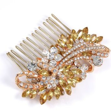 Tahira - Champagne Crystals Rose Gold Vintage Style Bridal Hair Comb