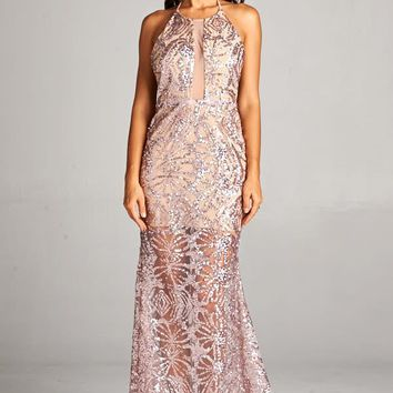 Halter Neck Sequin Maxi Dress