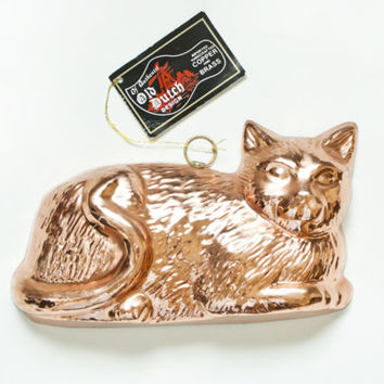 Vintage Old Dutch Copper Cat Jello Mold with Original Tag, ODI Cake Pudding Form Aspic Pan, Cottage Wall Decor