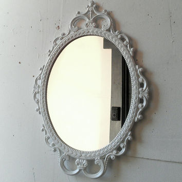 Ornate Oval Mirror in Metal Frame - 17 x 12 inch Handpainted Brass in True White