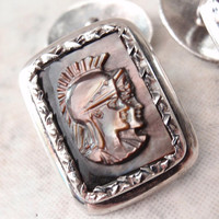 Roman Centurion Cufflinks 900 Silver Black Mother of Pearl Carved Vintage V0704