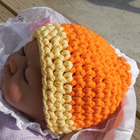 Crochet Candy Corn Baby Hat, Photo Prop (0-3, 3-6 Months), Crochet Hat, Newborn Crochet Hat, Crochet Halloween  Beanie