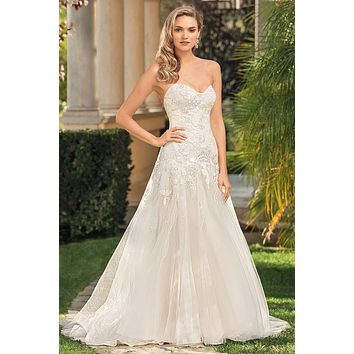 Casablanca 2346 Ingrid Strapless Lace Drop Waist Wedding Dress
