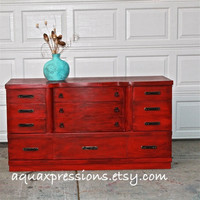 Red Vintage Dresser/ Bright Buffet/ Bedroom Furniture/ Distressed /Vintage Drawer Pulls/ TV Stand/ Storage/ Dining Room Furniture