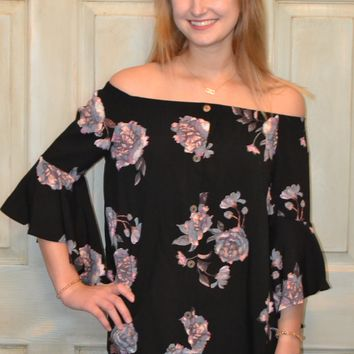 Bright Lights Off the Shoulder Floral Print Top