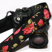 Roses Camera Strap, Floral Camera Strap, Black Red Camera Strap, Nikon, Canon Camera Strap, Women Accessories