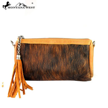 Montana West Hair on Hide Brown Leather Clutch RLC-L041
