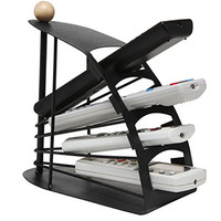 Modern Chic Space Saving Black Metal Fan Design 4 Slot TV Remote Control Storage Organizer Caddy - MyGift