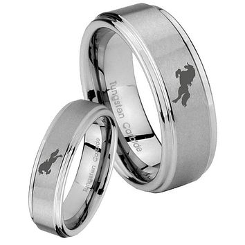 His and Hers Step Edge Horse Tungsten Silver Wedding Rings Set