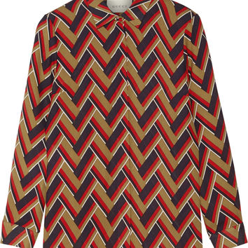 Gucci - Printed silk and wool-blend shirt