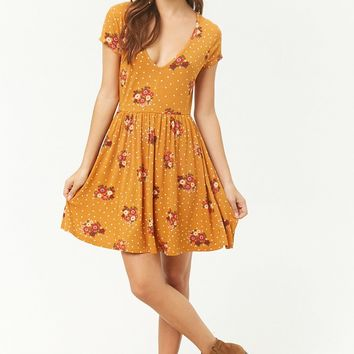 Floral V-Neck Mini Skater Dress