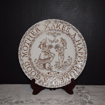 Mother's Plate Norma Sherman 1972 Crownford Royal Staffordshire England Vintage Tribute to Mom Mother Collectible Plate Mother's Day Plate