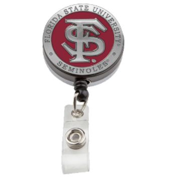 Florida State Pewter Badge Reel - Retractable Pewter FSU Seminoles Badge Reel