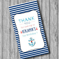 Personalized Printable Nautical Thank You Tags Birthday, Nautical Theme Sail, Navy Blue White and Red (PRINTABLE file, Download, Custom)
