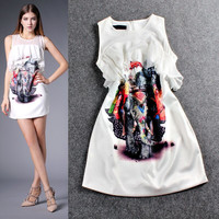 White Sleeveless  Elephant Digital Print Ruffled Bustier Mini Dress