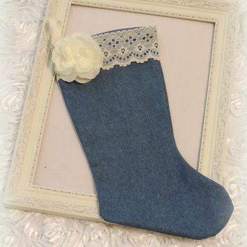 Christmas stocking, denim and lace stocking, cottage chic Christmas, shabby chic Christmas, ivory and denim Christmas decorations
