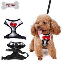Doglemi Small Dog Walking Harness Fashion Red Bow Tie Tuxedo Dog Collar Harness Houndstooth Puppy Vest Harness Pet Chest Strap