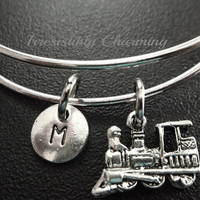 Sale....Train, Silver plated Expandable Bangle, monogram personalized custom gifts under 10 choose your own initial style item No.656