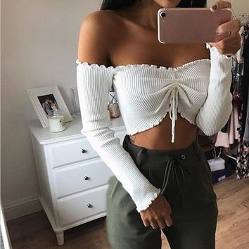 Jena Off Shoulder Crop Long Sleeve