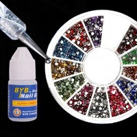 My Associates Store - 3D 2300pcs Round Nail Art Rhinestone Gems Wheel with Dotting Tool and Glue Nail Art Kit
