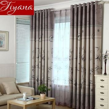 Bamboo Curtains Printed Yarn Window Screen for Modern Living Room