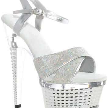 "Ellie Shoes Disco 6"" Crossed Straped Textured Platform Silver Nine"