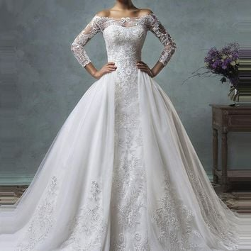 2018 Vintage Mermaid Wedding Dress With Detachable Train Long Sleeve Illusion Lace Embroidery Arabic Plus Size Wedding Gown