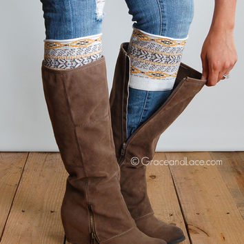 Grace & Lace Patterned Boot Cuffs™ (Aztec - Yellow & Gray)