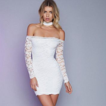 Vintage crochet collar long-sleeved perspective tight package hip skirt wrapped chest skirt Halter sexy lace skirt