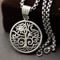 Stainless Steel The sun Celtic Tree of Life Pendant Necklace Wicca Pagan Jewelry