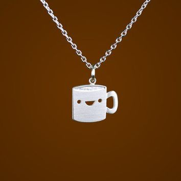Happy Coffee Mug Necklace by marymaryhandmade on Etsy