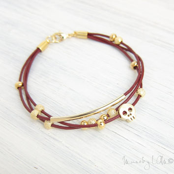 Leather Charm Bracelet - Gold Skull Charm Bracelet, Stacked Bracelet, Gold Bar Bracelet, Burgundy Red Cord, Stardust Beads - Tiny Skull