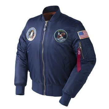 Trendy Winter Apollo 100th SPACE SHUTTLE MISSION Thick Padded MA1 Bomber Hiphop US Air Force Pilot Warm Oversized Flight Jacket For Men AT_94_13